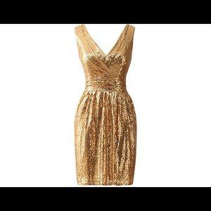 Dresses & Skirts - Gold Sequin Cocktail Dress
